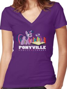 Ponyville Public Library Women's Fitted V-Neck T-Shirt