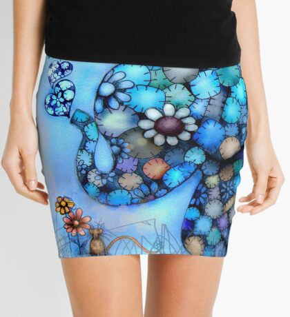Little Blue the Patchwork Elephant Mini Skirt