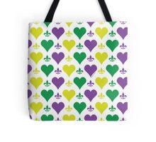Mardi Gras Hearts and Fleur de Lis Pattern Tote Bag