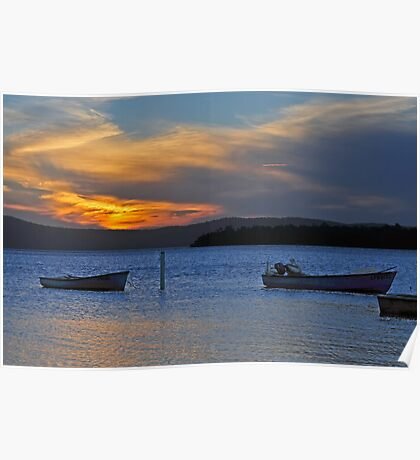 Boats at rest at sunset Poster