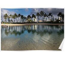 Palm Trees, Crystal Clear Lagoon Water and Tropical Fish Poster