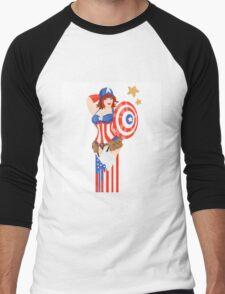 Captain America Pinup Men's Baseball ¾ T-Shirt