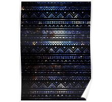 Aztec Black Galaxy Blue Poster
