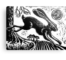 Hare...Linoprint Canvas Print