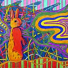 305 - PSYCHEDELIC BUNNY - DAVE EDWARDS - COLOURED PENCILS AND PENS - 2010 by BLYTHART