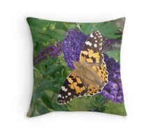 Painted Lady Butterfly resting on Buddleia Throw Pillow