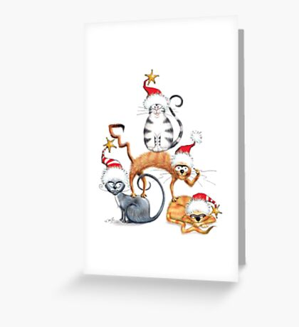 Kazart Xmas Cat Stack  Greeting Card
