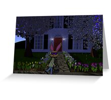Easter Rabbit and House Greeting Card
