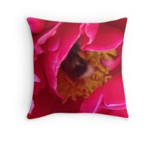 A Friendly Visitor In The Heart Of A Peony  Throw Pillow