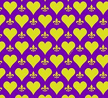 Purple and Gold Hearts And Fleur de Lis Pattern by StudioBlack