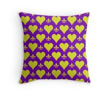 Purple and Gold Hearts And Fleur de Lis Pattern Throw Pillow