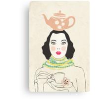 Green Tea Girl Canvas Print