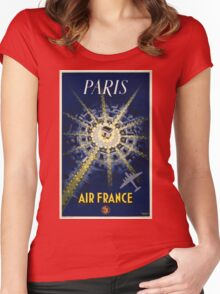 Paris Air France Vintage Travel Poster Restored Women's Fitted Scoop T-Shirt