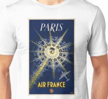 Paris Air France Vintage Travel Poster Restored Unisex T-Shirt
