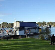 Road Haulage Truck Crossing the Murray River by Ferry. Mannum. by Rita Blom