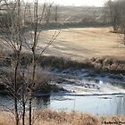 Country Morning Landscape in Autumn With Snowy Stream by Barberelli