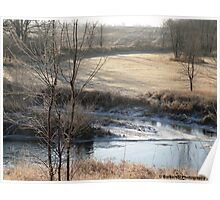 Country Morning Landscape in Autumn With Snowy Stream Poster