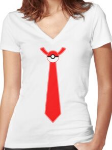 Pokeball Tie Tee Women's Fitted V-Neck T-Shirt