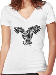 Skeletowl Women's Fitted V-Neck T-Shirt