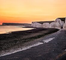 Costal Chalk Sunset in England by grahamvphoto