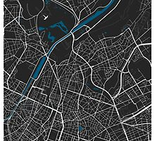 Brussels city map black colour by mmapprints