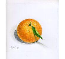 Navel Orange with Leaf Photographic Print