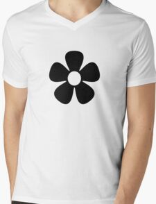 Black Flower Mens V-Neck T-Shirt
