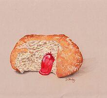 Jam Doughnut, gooey gorgeousness by debstanleyart