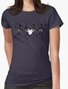 Spooky Scary Skeletons, Silhouette Womens Fitted T-Shirt