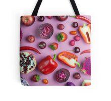 Red food on pink Tote Bag