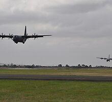 Hercules Simultaneous Landing,Avalon Airshow,Australia 2015 by muz2142