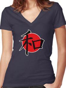 Peace Japanese Kanji Women's Fitted V-Neck T-Shirt