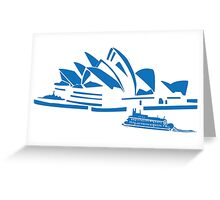 The Sydney Opera House w/ Ferry Boat Silhouette Greeting Card