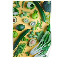 Green food on yellow background Poster