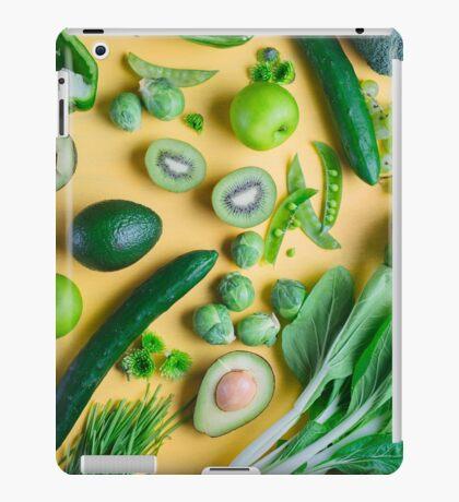 Green food on yellow background iPad Case/Skin