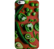 Green food on red iPhone Case/Skin