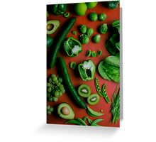 Green food on red Greeting Card