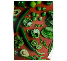 Green food on red Poster