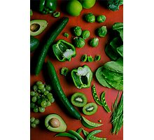 Green food on red Photographic Print
