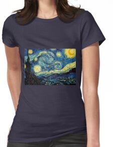 Vincent Van Gogh - Starry night  Womens Fitted T-Shirt