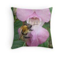 Bumble Bee Visiting Himalayan Balsam Throw Pillow