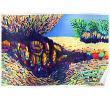 Colorful Shadows among the Rocks Poster