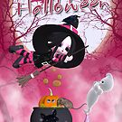 Halloween Card - Cute Witch - Pink by Moonlake