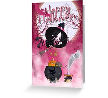 Halloween Card - Cute Witch - Pink Greeting Card