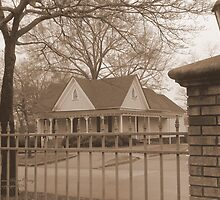 Old fashioned house with iron fence by EclecticImages