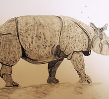 Indian Rhino by GEORGE SANDERSON