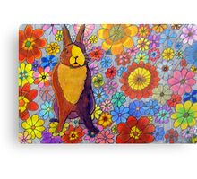 306 - FLORAL BUNNY - DAVE EDWARDS - COLOURED PENCIL & INK - 2010 Metal Print