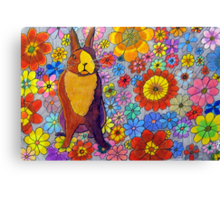 306 - FLORAL BUNNY - DAVE EDWARDS - COLOURED PENCIL & INK - 2010 Canvas Print