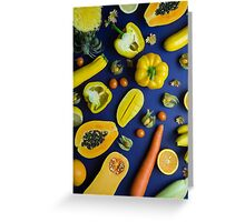 Yellow food on blue Greeting Card