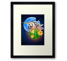 White Unicorn, Alien World Framed Print